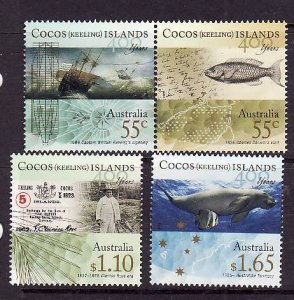Cocos (Keeling) Is.-Sc#351-3-unused NH set-History of the Islands-2009-
