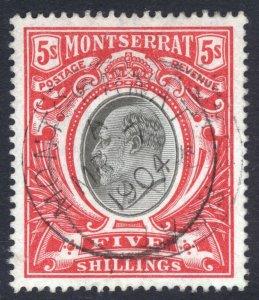 Montserrat 1903 5s Black & Scarlet Wmk Crn CC SG 23 Scott 21 VFU Cat £225($292)