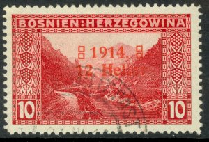BOSNIA AND HERZEGOVINA 1914 12h on 10h WIDE 4 SEMI POSTAL Sc B2a VFU