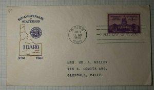 US FDC Sc# 896 Boise ID 1940 Cachet Craft Idaho Statehood