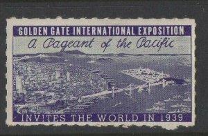 USA - 1939 Golden Gate International Expo Invites the World version 2 MH OG