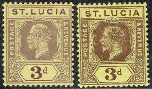 ST LUCIA 1912 KGV 3D DIE I AND DIE II WMK MULTI CROWN CA