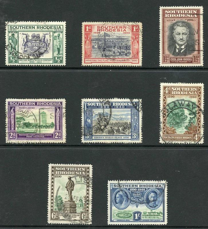 Southern Rhodesia SG53/60 1940 set of 8  Fine used