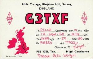 9725 Amateur Radio QSL Card KINGSTON HILL SURREY ENGLAND