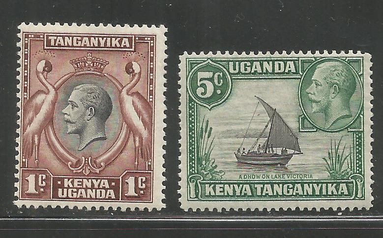 K.U.T.  46-47  MINT HINGED,  KAVIRONDO CRANES AND DHOW ON LAKE VICTORIA