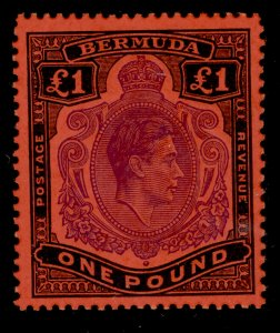 BERMUDA SG121e, £1 bright violet and black/scarlet, NH MINT. Cat £180. PERF 13