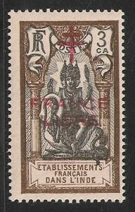 French India #158 VF NH 1942 3ca Brahma Overprinted