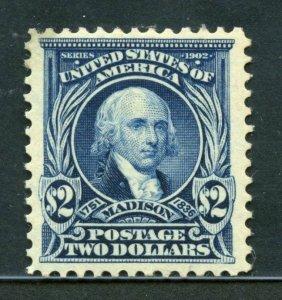 UNITED STATES $2 MADISON SCOTT #312 VF  MINT HINGED-SCOTT VALUE $800.00 PF CERT