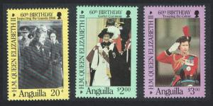 Anguilla 60th Birthday of Queen Elizabeth II 3v SG#711-713