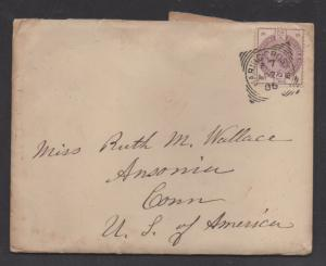 **Great Britain Cover, SC# 101, to Ansonia, CT, Enclosure, 1886