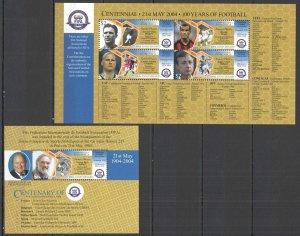 U0814 2004 DOMINICA SPORT FIFA 100 YEARS OF FOOTBALL CRUYFF #3620-23 BL+KB MNH