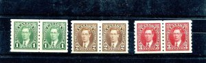 #238 - #240 pairs VF MNH Cat $71 Mufti issue - Canada mint