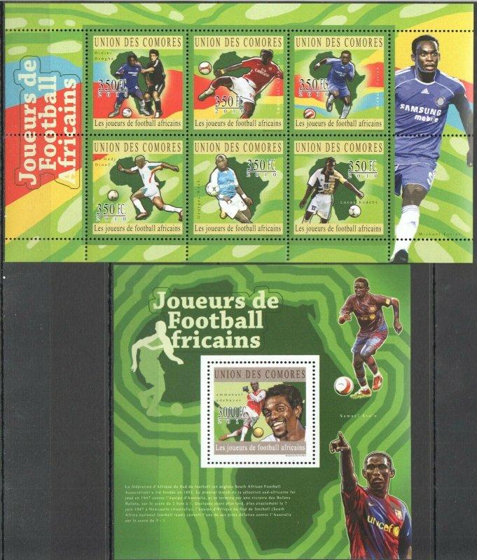 UC163 2010 COMOROS SPORT FOOTBALL SOCCER BL+KB MNH