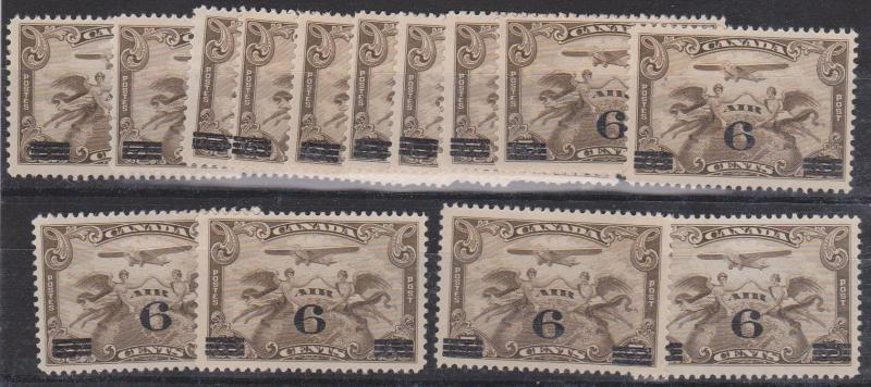 Canada - 1932 USC#C3 1932 6c on 5c (14) mint inc. ten as F-NH