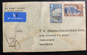 1936 Colombo Ceylon First Flight Airmail cover FFC To Madras India