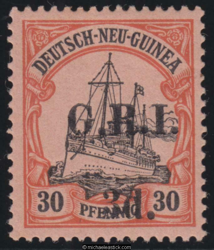 1914-1915 New Guinea 3d on 30pf, overprinted 'G.R.I.', value 6mm apart, SG 8, MH
