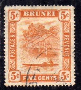 BRUNEI 1924 1937 SCENE ON BRUNEI RIVER CENT. 5c USED USATO OBLITERE'