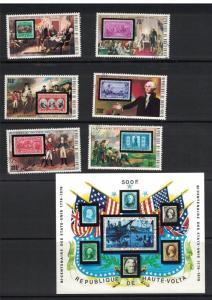 Upper Volta. Stamps On Stamps Set & Souvenir Sheet. Cancelled. Hinged.  #02 UVSS