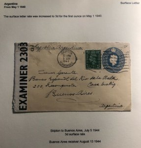 1944 Skipton England Censored Stationery Cover To Buenos Aires Argentina