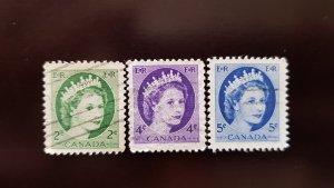 Canada Set of 3v Used Stamps 1954 Sc338, 340, 341 Elizabeth II