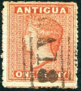 ANTIGUA-1867 1d Venetian with Sideways Watermark Sg 7b FINE USED  V29704