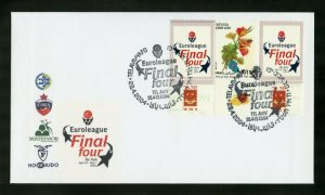 ISRAEL 2004  FINAL FOUR GUTTER PAIR ON FIRST DAY COVER