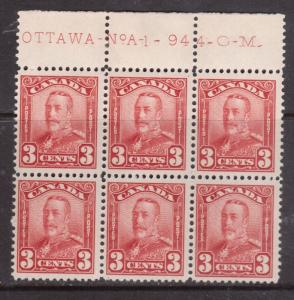 Canada #151 Fine - Very Fine Mint Never Hinged Plate #1 Top Block Of Six