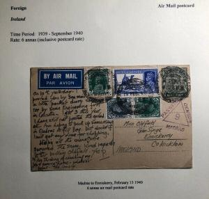 1940 Madras India Stationary Postcard Censored Cover To Enniskerry Ireland