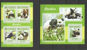 ST2249 2015 MOZAMBIQUE FAUNA WILD ANIMALS BEARS PANDAS KB+BL MNH