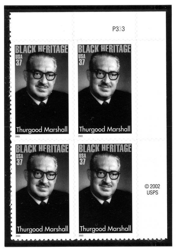 US  3746 Thurgood Marshall 37c - Plate Block of 4 - MNH - 2003 - P3333  UR