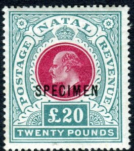 NATAL-1902 £20 Red & Green SPECIMEN OVERPRINT. A mounted mint example Sg 146bs
