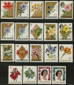 COOK ISLANDS Sc#199-217 (19) 1967-69 Flower Definitives Set to $2 OG Mint NH