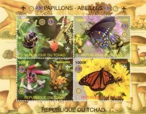 Chad 2008 Butterflies and Bees Rotary/Lions/Mushrooms  Shlt (4) Perforated MNH