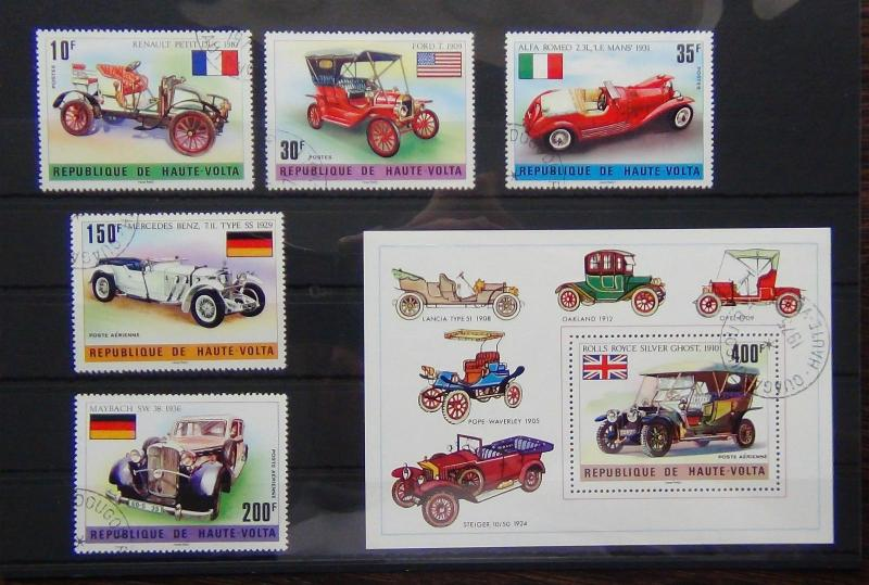 Upper Volta 1976 Veteran Cars set and Miniature sheet VFU