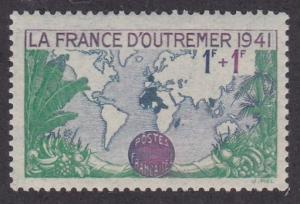 France #  B115, World Map Showing French Possessions, Hinged, 1/3 Cat