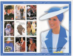 Turkmenistan 1997  Diana/Gandhi/M.Teresa/Pope John-Paul II Shlt (9) YT#56/64 MNH