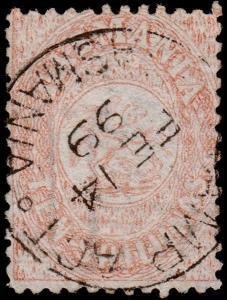 Tasmania Scott AR14 Postal Fiscal, Perf. 12 (1863-80) Used F, CV $375.00 M