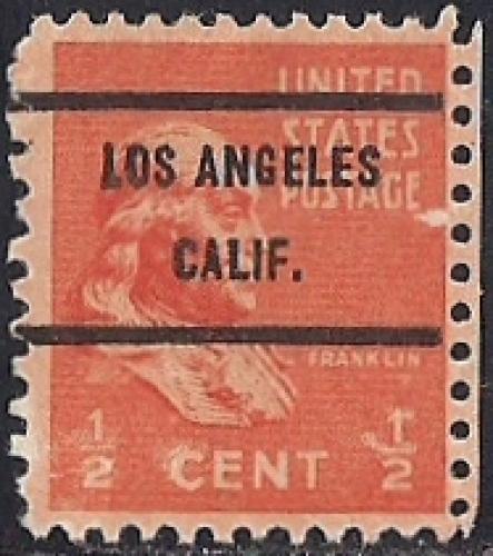 803 1 2 Cent Benjamin Franklin Precancel Stamp Used F
