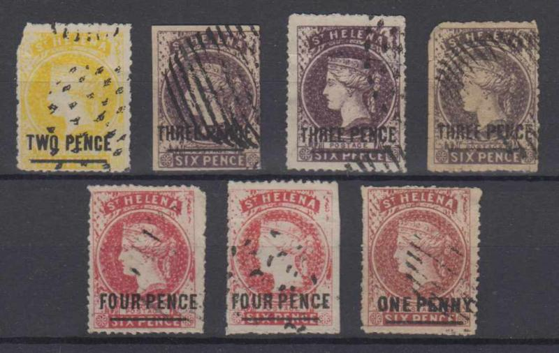 BC SAINT HELENA 1864-73 Sc 13-16 SEVEN SPIRO FORGERIES SHADES USED (CV$422.50)