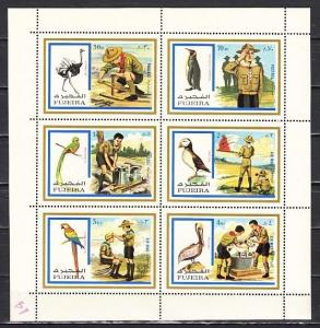 Fujeira, Mi cat. 1012-1017 A. Scouts & Birds sheet of 6. Mailed folded. *