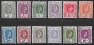 MAURITIUS SG252/63a 1938-49 DEFINITIVE SET MNH