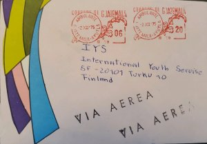 A) 1975, GUATEMALA, METER STAMP, AIRMAIL, SHIPPED TO FINLAND, XF