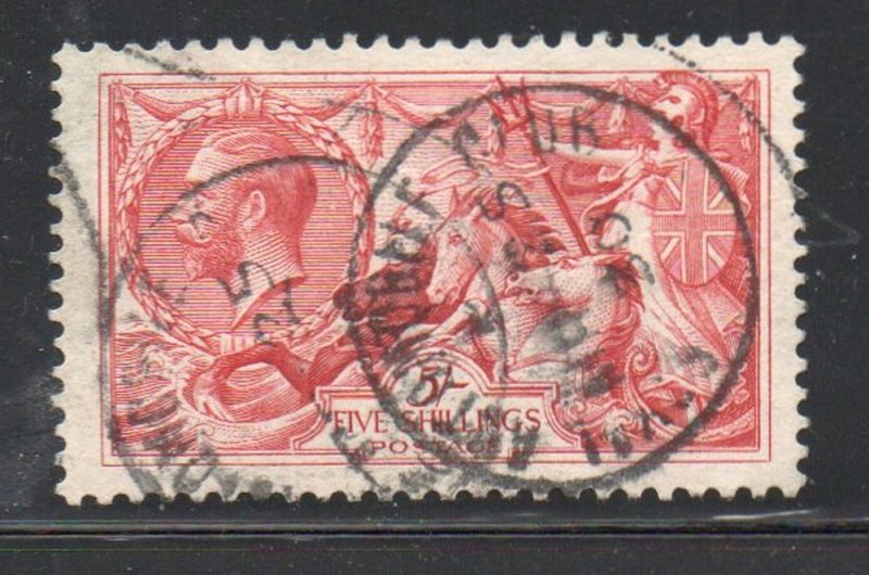 Great Britain Sc 180 1919 5/ G V & Seahorse George V stamp used