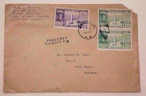 DOMINICAN REPUBLIC   USED IN PUERTO RICO  PAQUEBOT SAN JUAN 1937