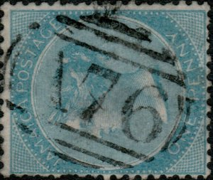 JAMAICA - 1860s - SG1b 1d blue cancelled numeral A76 of SPANISH TOWN