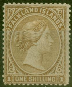 Falkland Is 1878 1s Bistre-Brown SG4 Fine Mtd Mint
