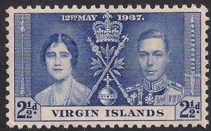 Virgin Islands 1946 KGV 2 1/2d Blue Coronation MM SG 109 ( H1461 )