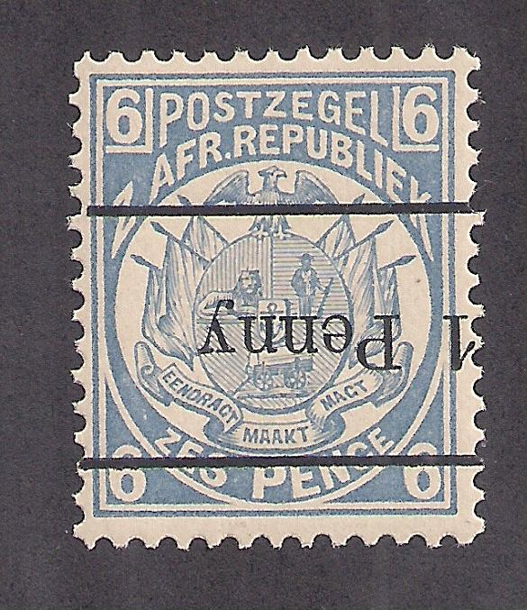 TRANSVAAL: #145a INVERTED revalue REPRINT MINT NH Interesting Stamp please read!