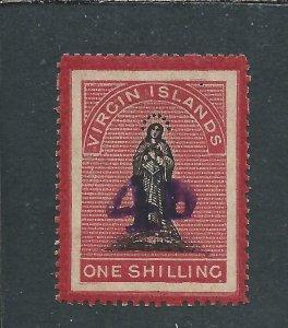 BRITISH VIRGIN IS 1888 4d on 1s BLACK & ROSE-CARMINE ON WHITE PAPER MM SG 42d