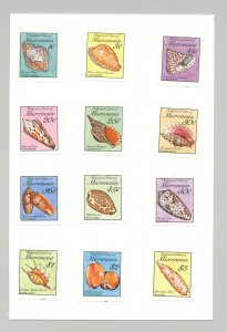 Micronesia #83-102 Shells 12v Imperf Proofs on Card